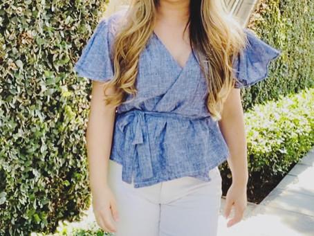 Flounce sleeve wrap blouse