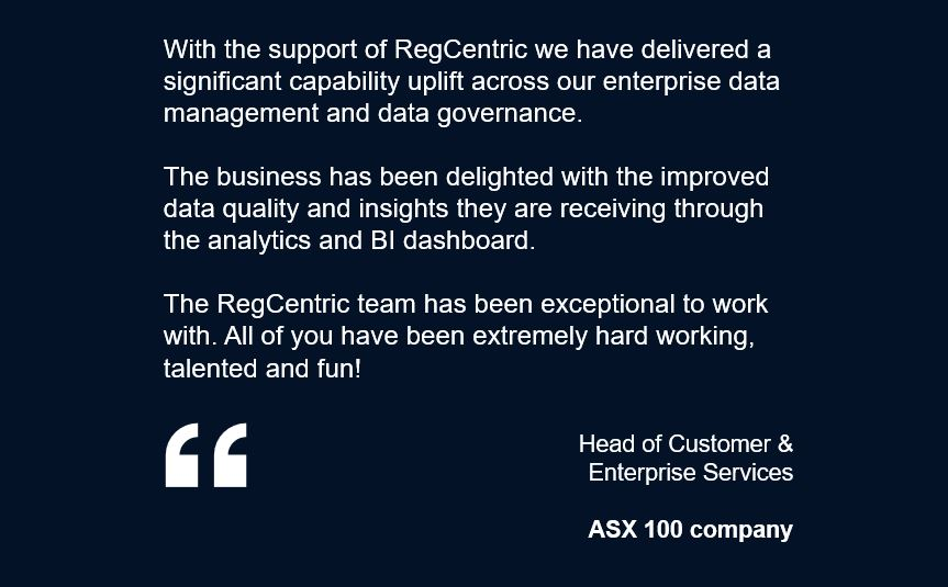 ASX 100 Company - Data Governance