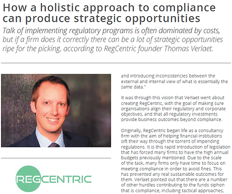 In the news: How a holistic approach to compliance can produce strategic opportunities.