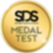 Gold medal with SDS logo and the words Medal Test