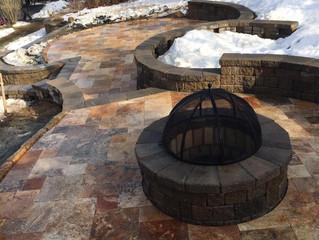 Travertine fire pit