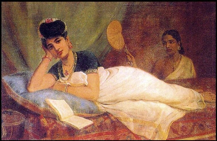 Source: https://commons.wikimedia.org/wiki/File:Raja_Ravi_Varma,_Reclining_Woman.jpg