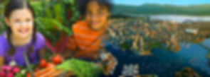A image of two kids with a basket full of vegetables fading into a image of a modern city