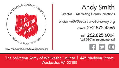 Salvation Army business card