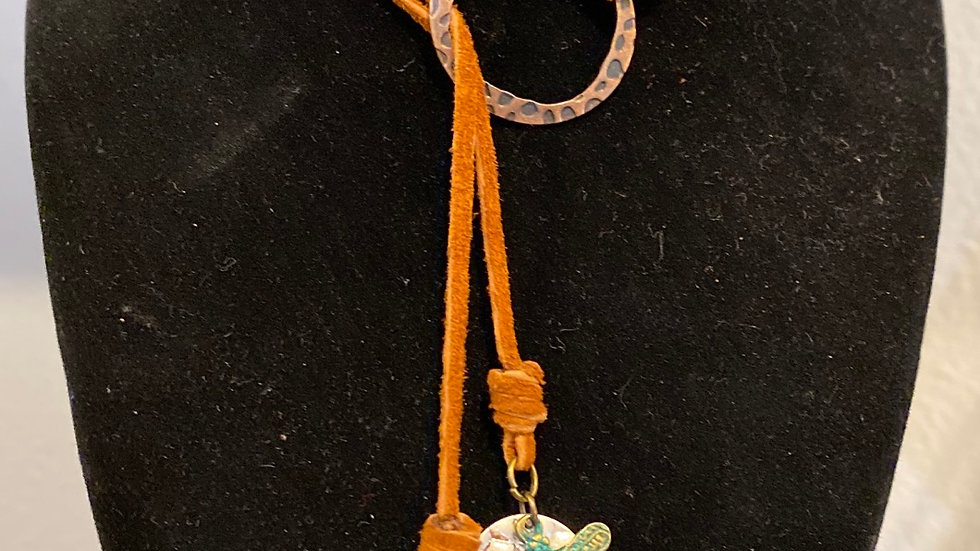 Suede cord lariat. With Dragonfly and Cross