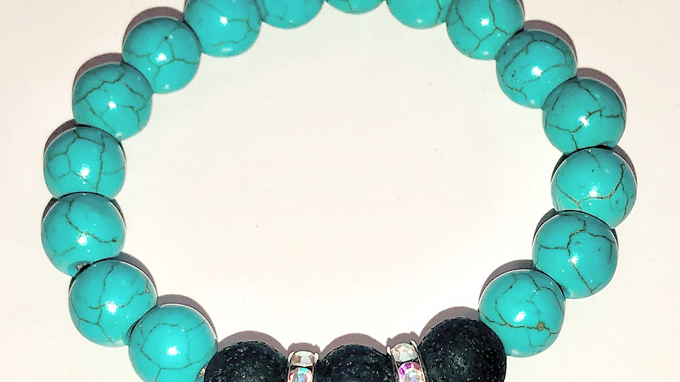Turquoise and Lava Essential Oil Stretch Bracelet