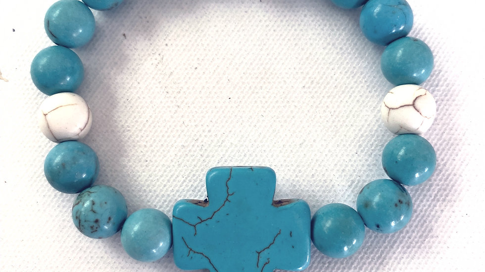 Howlite Cross and Beads