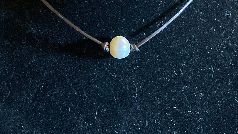 Knotted Pearl and Leather Cord Choker