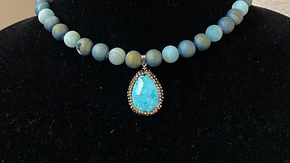 Druzy Agate beads with Cowlite Turquoise and crystal pendant