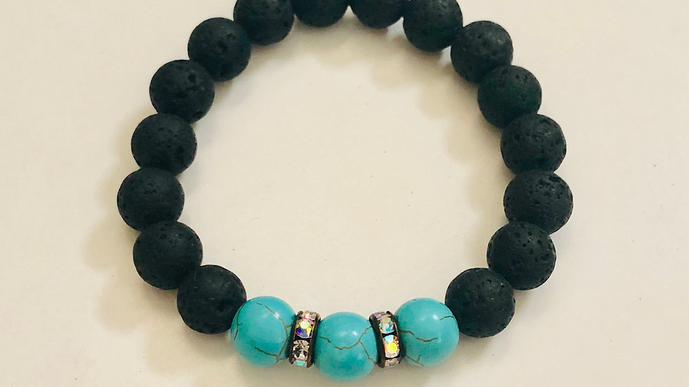 Lava and Turquoise Essential Oil Stretch Bracelet