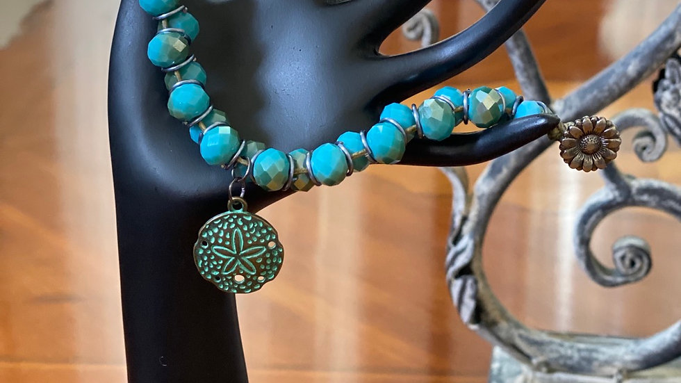 Bronze and Blue Sand Dollar Bracelet