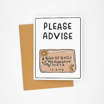 please advise card