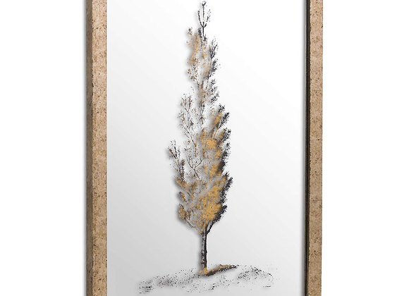 Metallic Brass Mirrored Pine Wall Art