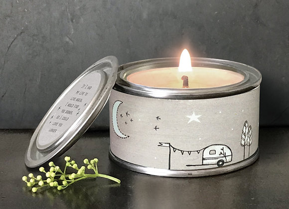 East Of India Life To Live Again Tin Candle