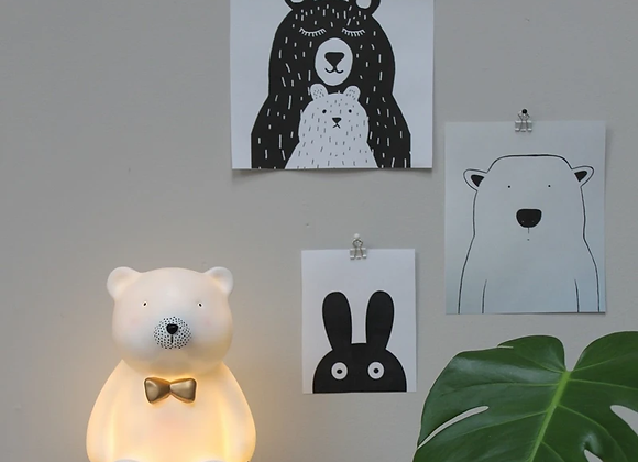 Over The Moon Bear Bow Lamp