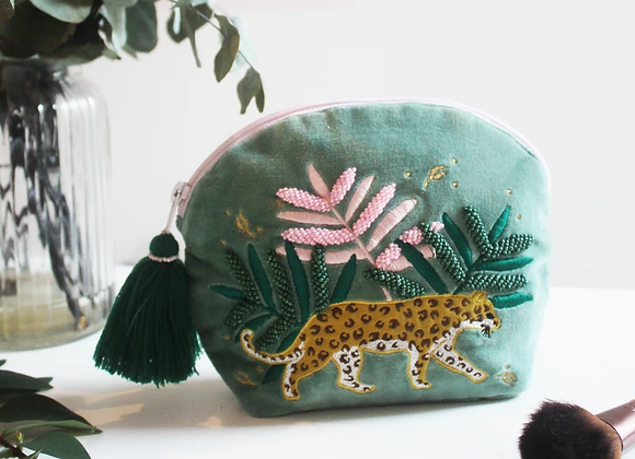 Savannah Leopard Make Up Bag