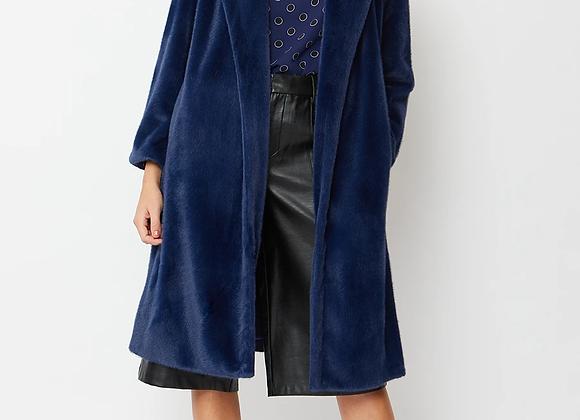 Midnight Blue Faux Fur Coat