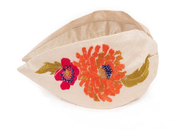 Powder Embroidered Headband Retro Meadow Cream