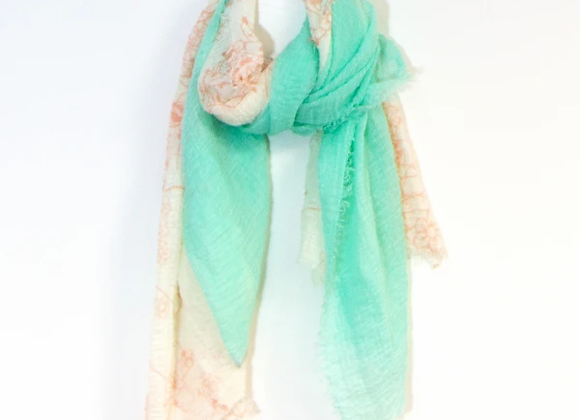 Summery Two Tone Scarf Mint And Pink