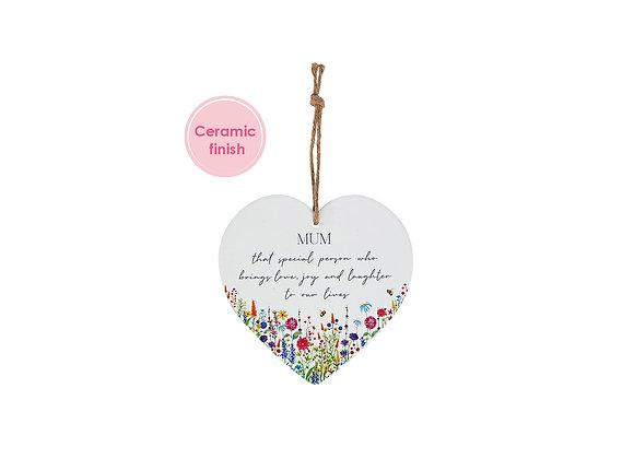 Mum Floral Ceramic Heart