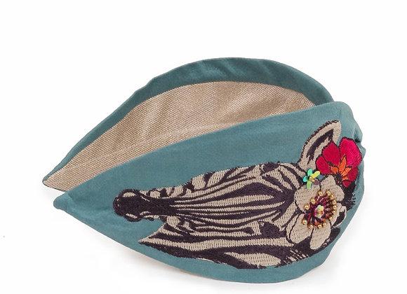 Powder Embroidered Headband Floral Zebra