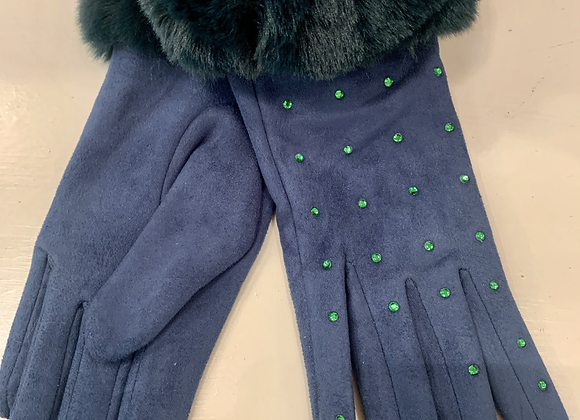 Green Faux Suede Fur Trimmed Gloves With Diamantes
