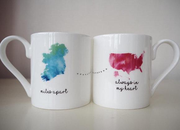 Miles Apart Mug Ireland To America