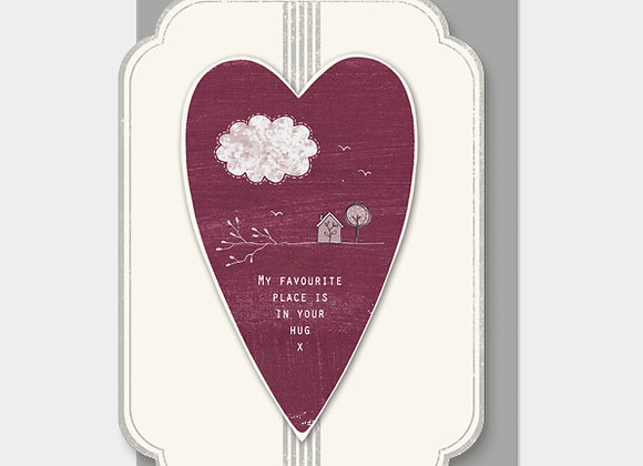 East Of India Heart My Favourite Place Card