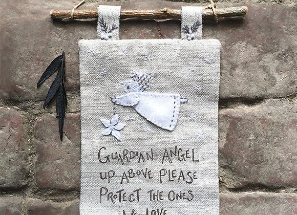 East Of India Embroidered Angel Plaque
