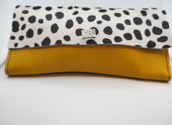 Owen Barry Large Yellow Leather and Cowhide Purse