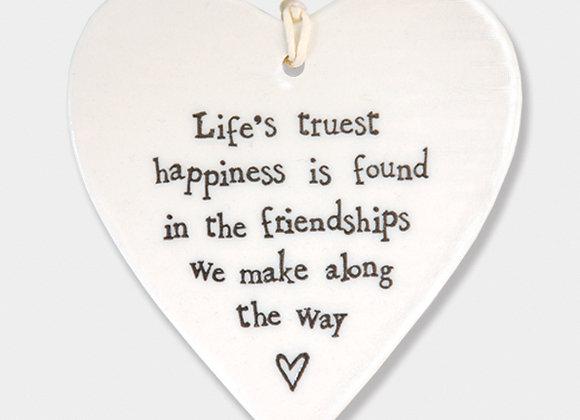 East Of India Porcelain Heart Life's Truest Friendships