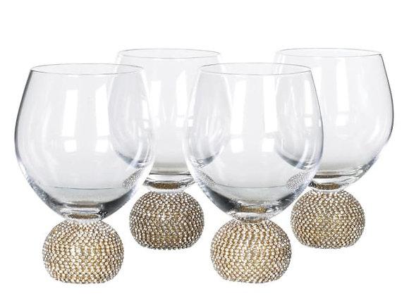 Set Of 4 Gold Diamante Glasses