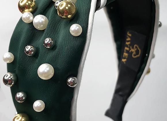 Green Pearl Embellished Hairband
