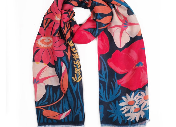 Powder Printed Scarf Country Garden Navy
