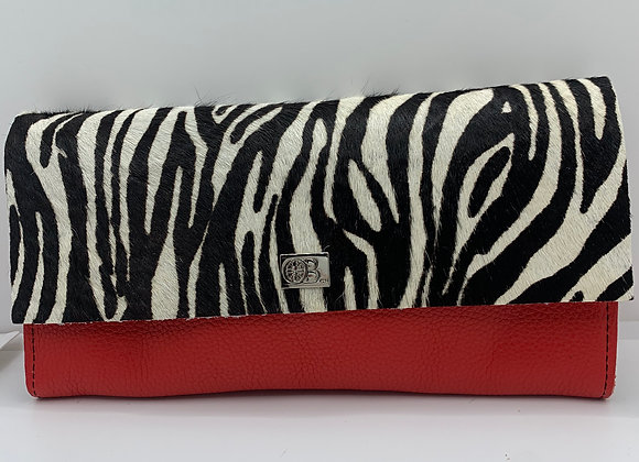 Large Owen Barry Vermont Purse Red and Zebra