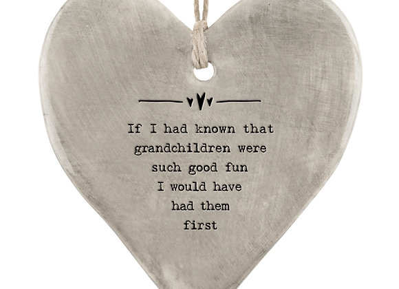East Of India Rustic Hanging Heart Known Grandchildren