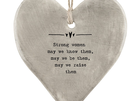 East Of India Rustic Hanging Heart Strong Women