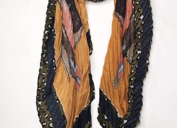 Silk Blend Scarf Saddle Print