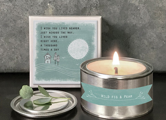 East Of India Boxed Candle I Wish You Lived Nearer