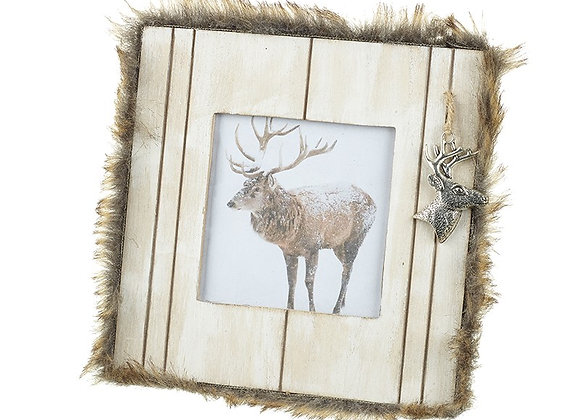 Wooden And Fur Stag Plaque