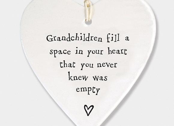 East Of India Porcelain Heart Grandchildren Fill A Space