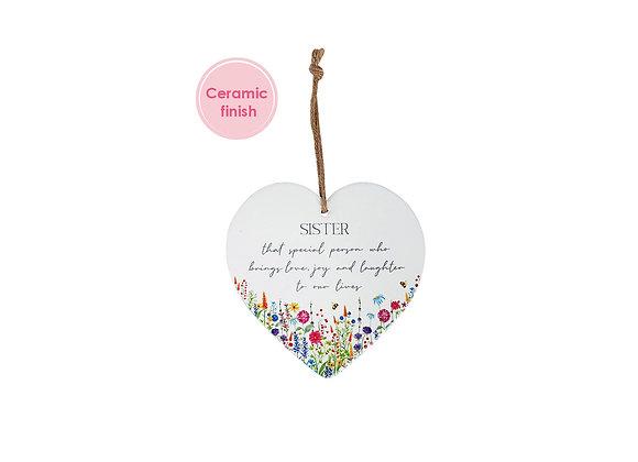 Sister Ceramic Floral Heart