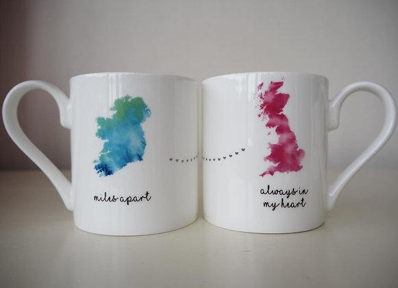Miles Apart Mug Ireland to England