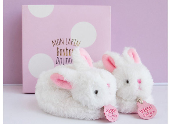 Pink Plush Rattle Baby Slippers