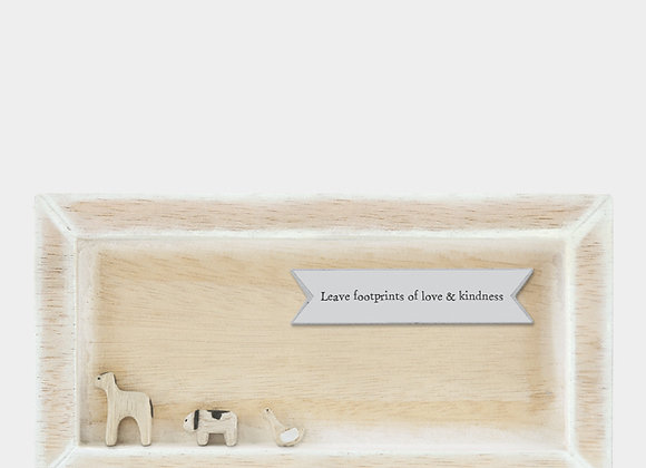East Of India Leave Footprints Of Love Wooden Plaque