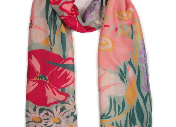 Powder Printed Scarf Country Garden Mint