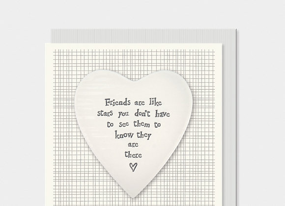 East Of India Friends Are Like Stars Porcelain Heart Card