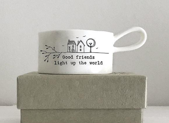 East Of India Handled Tea Light Holder Good Friends