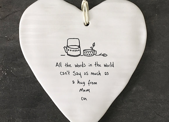 East of India Porcelain Heart A Hug From Mum