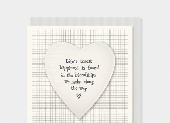East Of India Life's Truest Happiness Porcelain Heart Card